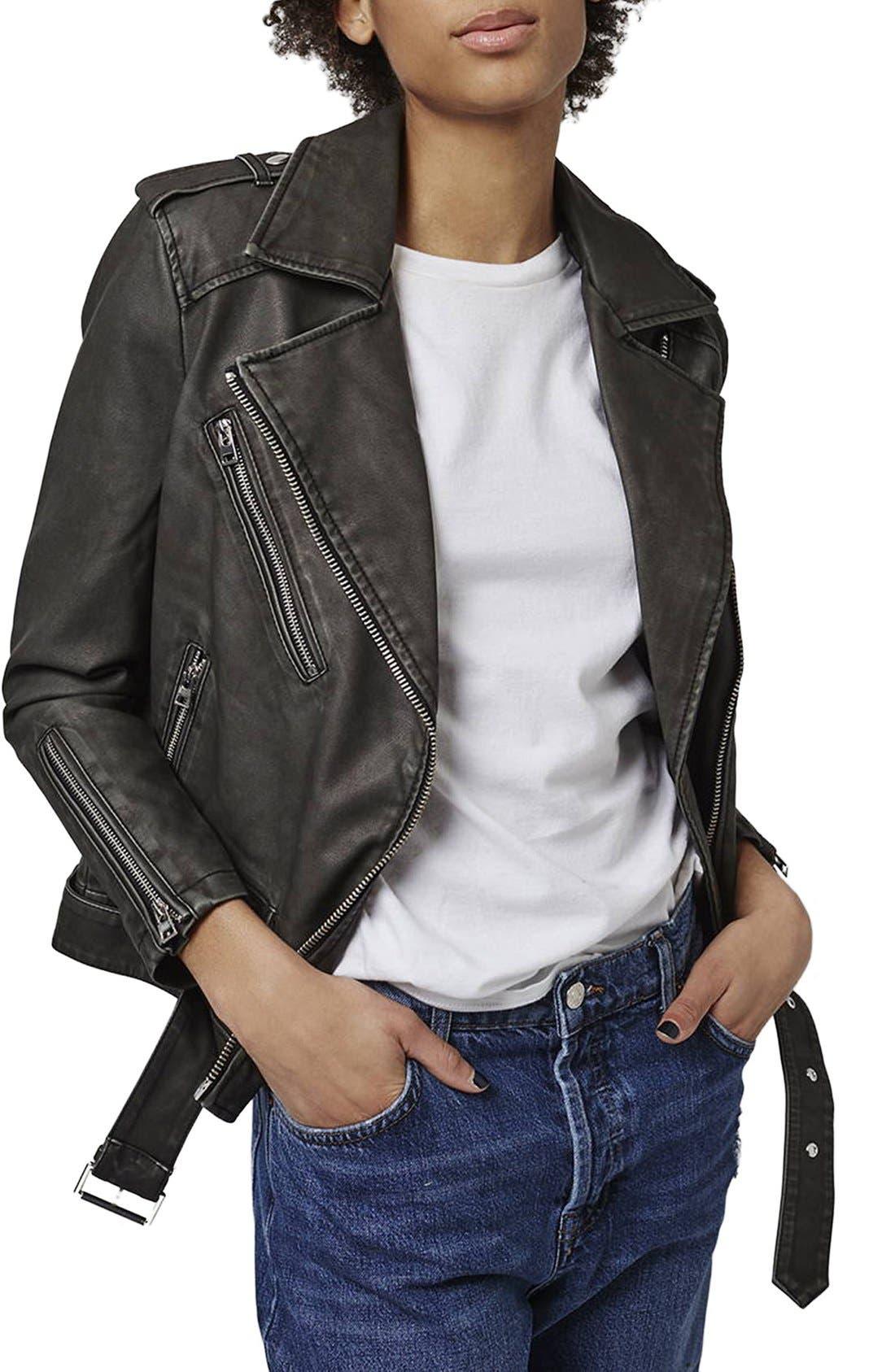 'Mahoney' Faux Leather Biker Jacket,                             Main thumbnail 1, color,                             Black