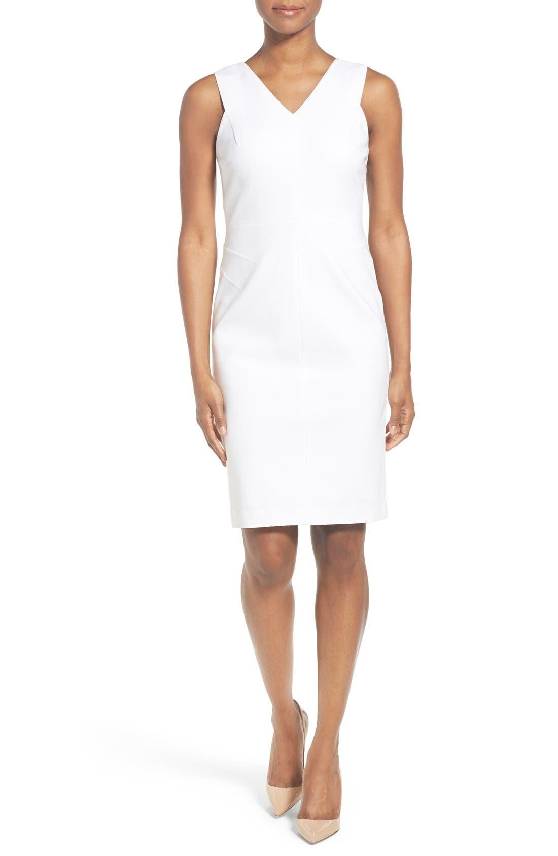 Main Image - Classiques Entier® Italian Ponte Double V-Neck Sheath Dress (Regular & Petite)
