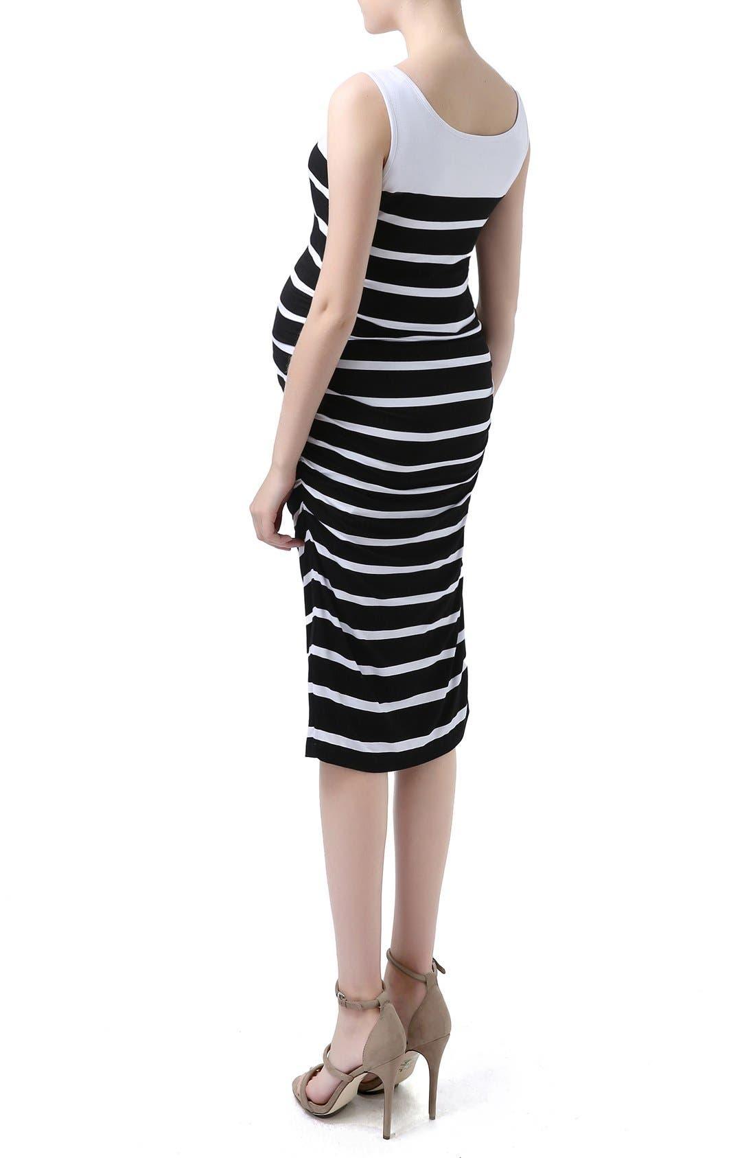 'Jackie' Stripe Sleeveless Maternity Midi Dress,                             Alternate thumbnail 3, color,                             Black/ White