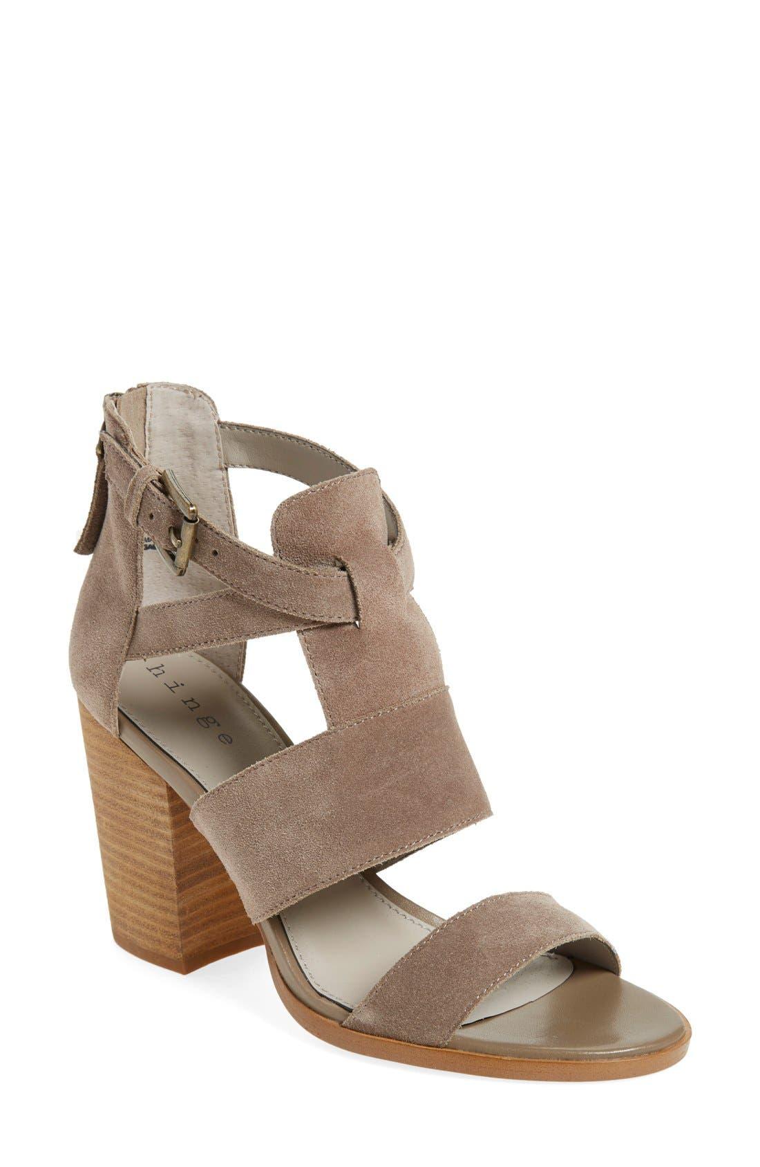 'Cora' Block Heel Sandal,                             Main thumbnail 1, color,                             Taupe Suede