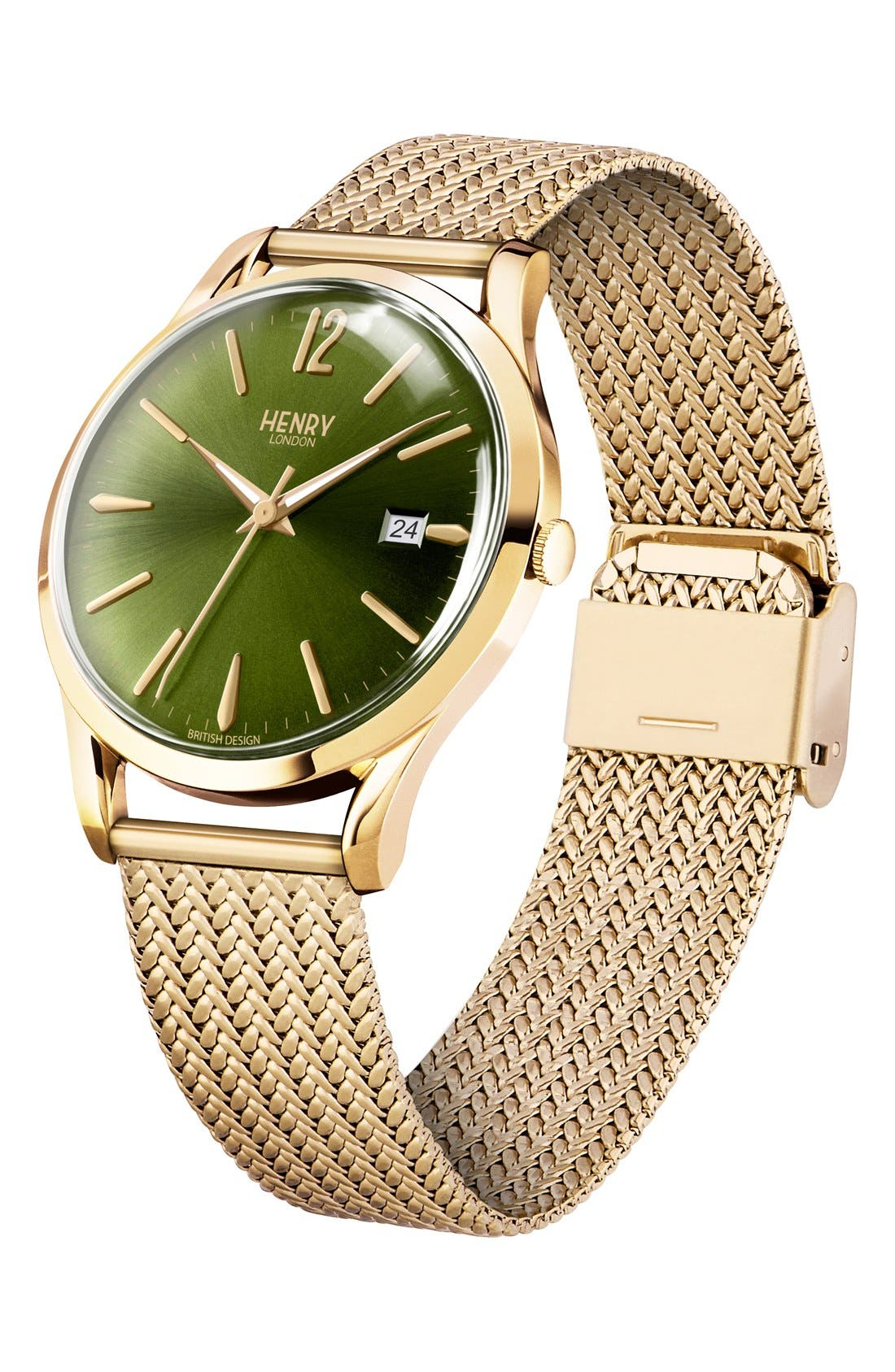 'Chiswick' Mesh Strap Watch, 38mm,                             Alternate thumbnail 3, color,                             Gold/ Rich Green