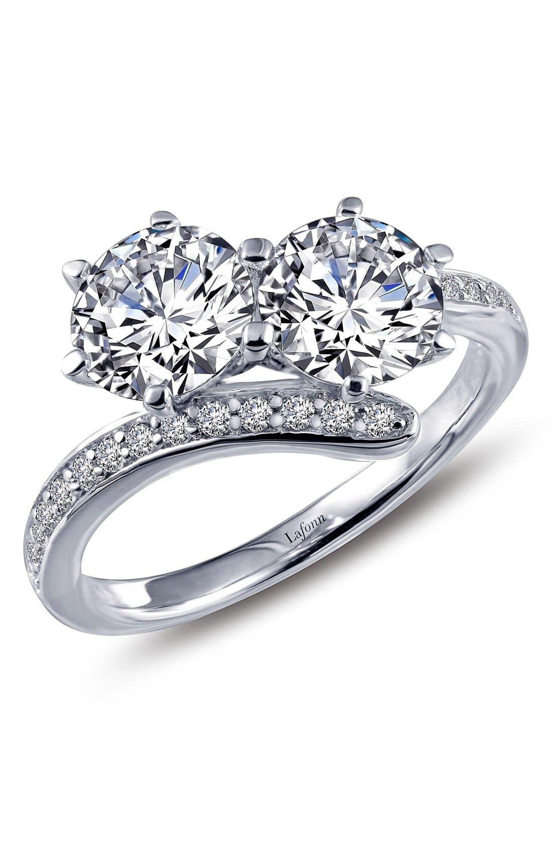 'Lassaire' Two Stone Ring,                         Main,                         color, Silver