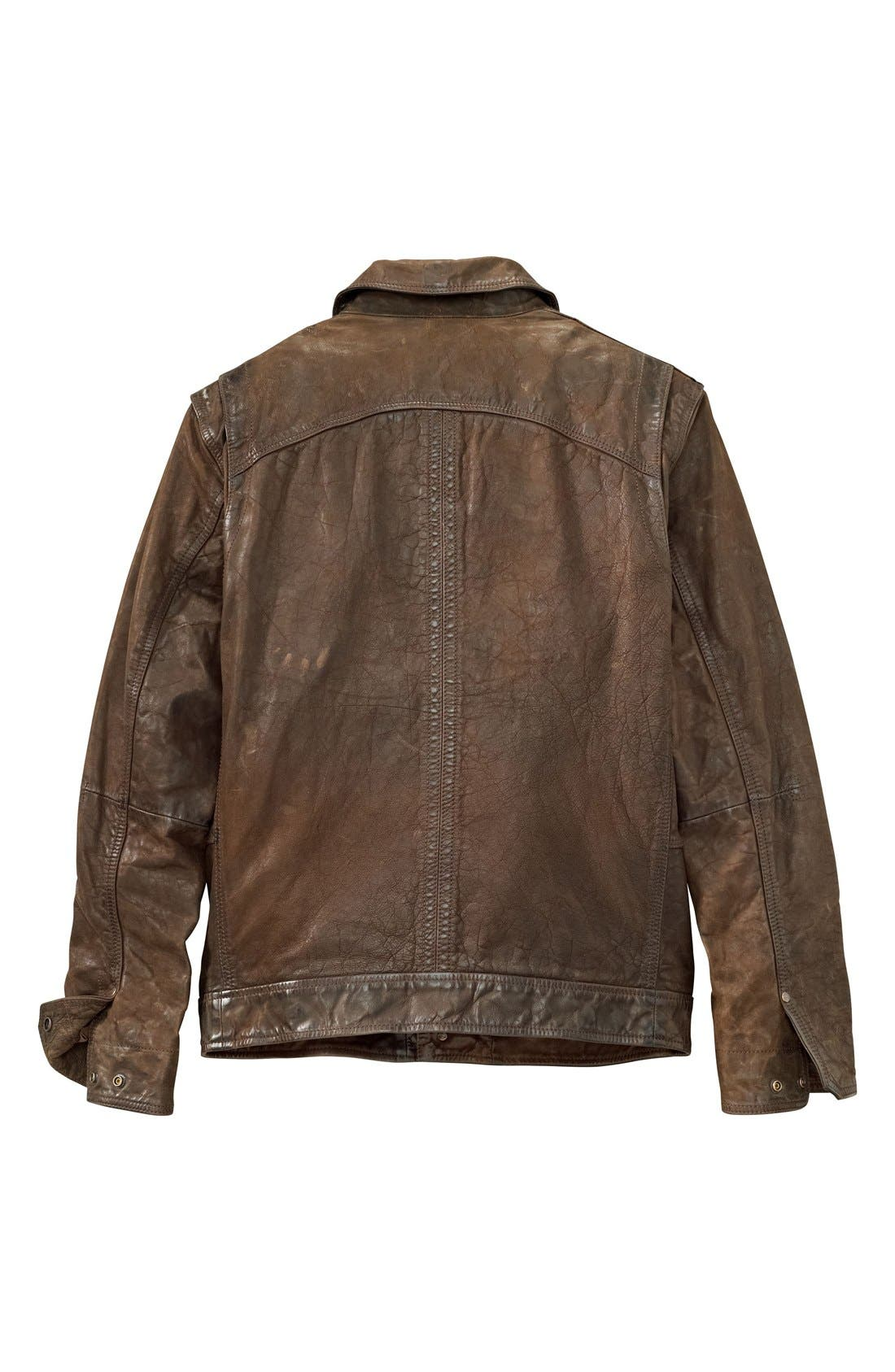 'Tenon' Leather Jacket,                             Alternate thumbnail 5, color,                             Cocoa
