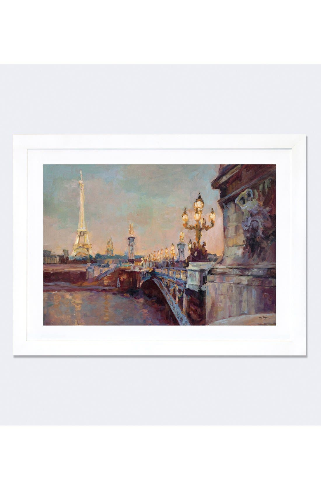 'Parisian Evening' Framed Fine Art Print,                             Main thumbnail 1, color,                             White