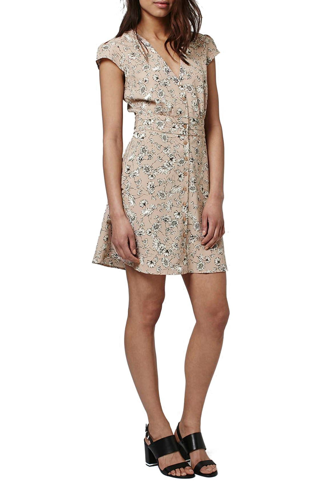 Alternate Image 1 Selected - Topshop 'Dog Daisy' Print Button Front Dress