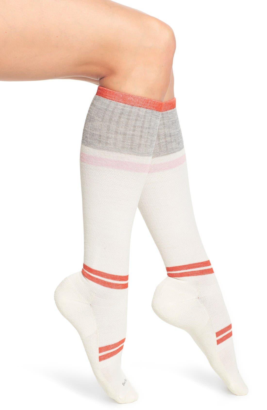 'Sport Flirt' Compression Knee Socks,                         Main,                         color, Natural