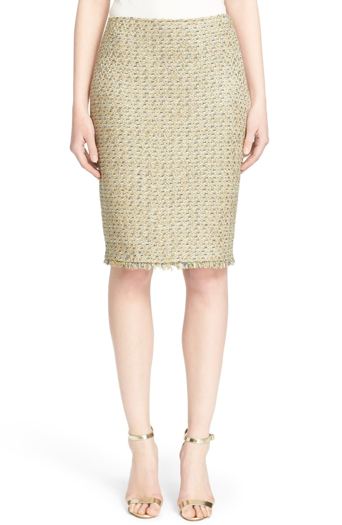 Main Image - St. John Collection Fringe Trim Raffia Knit Pencil Skirt