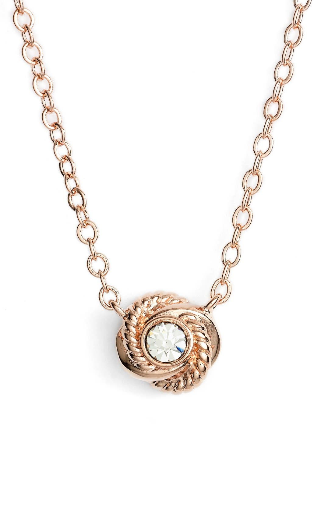 'infinity and beyond' knot necklace,                             Main thumbnail 1, color,                             Clear/ Rose Gold