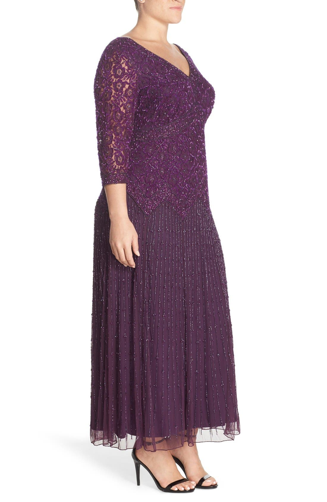 Beaded V-Neck Lace Illusion Gown,                             Alternate thumbnail 3, color,                             Plum
