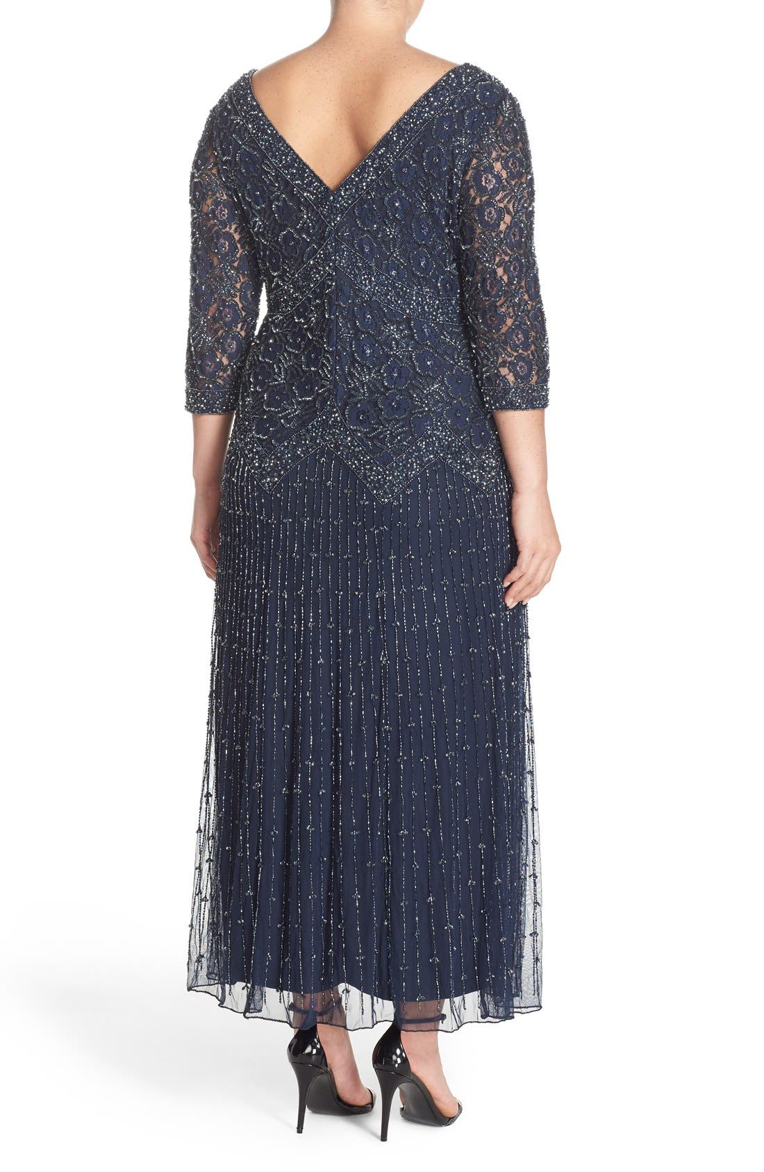 Beaded V-Neck Lace Illusion Gown,                             Alternate thumbnail 2, color,                             Navy