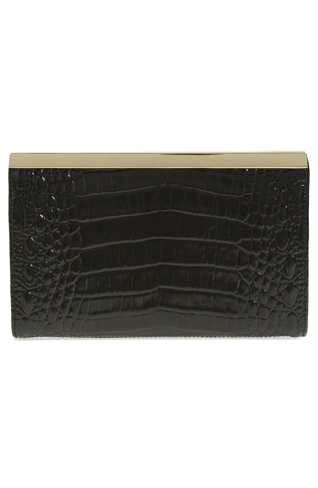 'Tillie' Croc Embossed Leather Clutch,                             Alternate thumbnail 3, color,                             Onyx