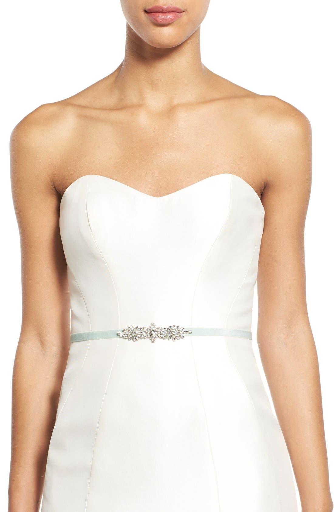 Bow Wedding Dress Sash with Crystals