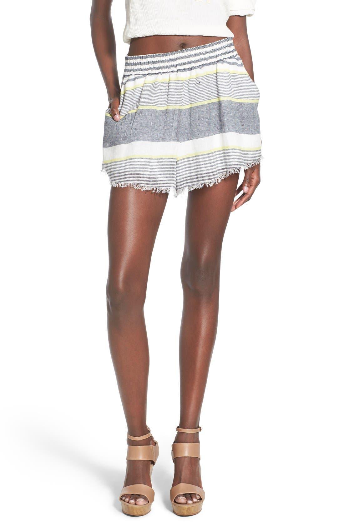 ASTR 'Ibiza' Linen & Cotton Shorts,                             Main thumbnail 1, color,                             Lime Stripe