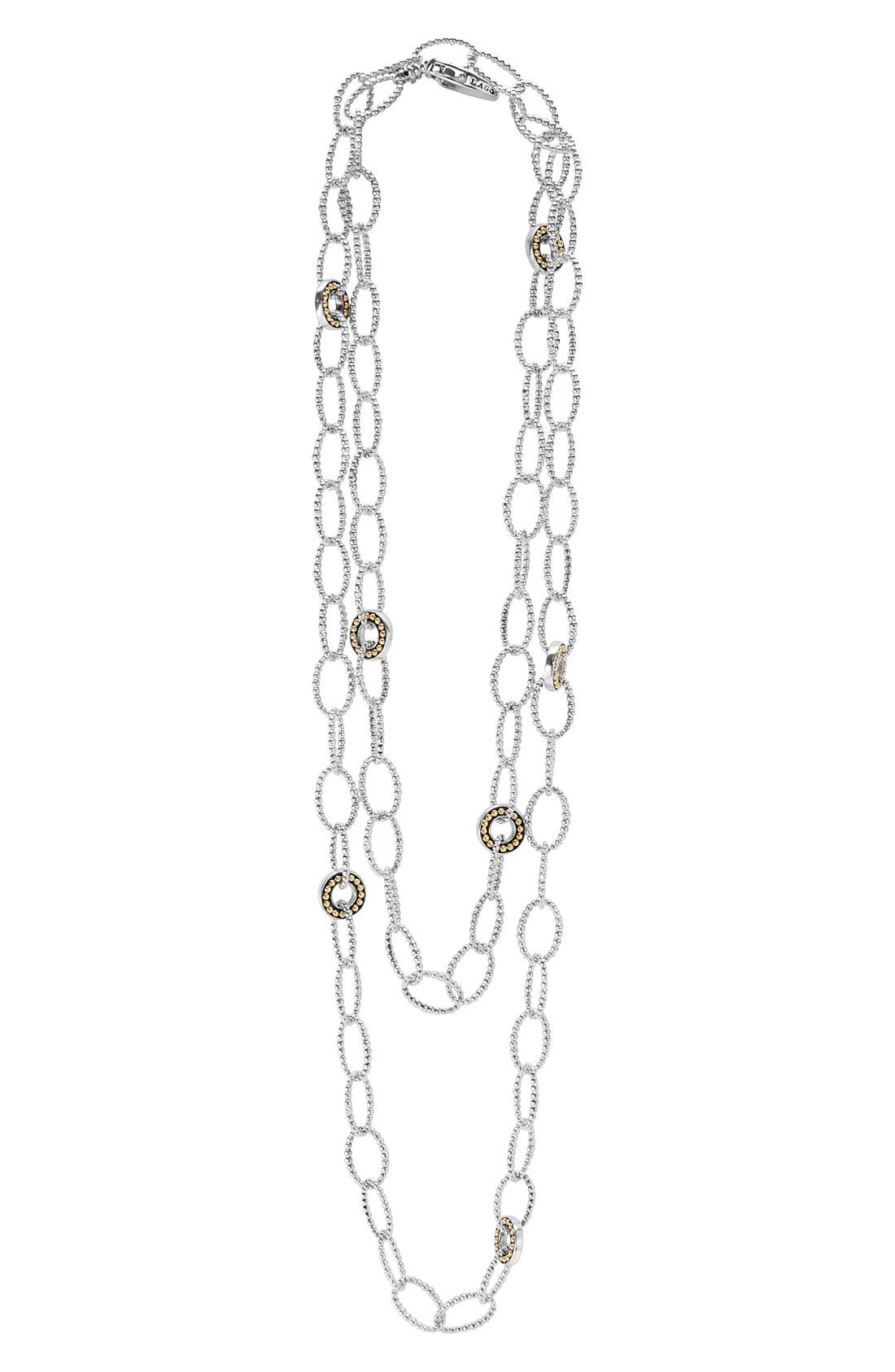 'Enso' Long Station Necklace,                         Main,                         color, Silver/ Gold