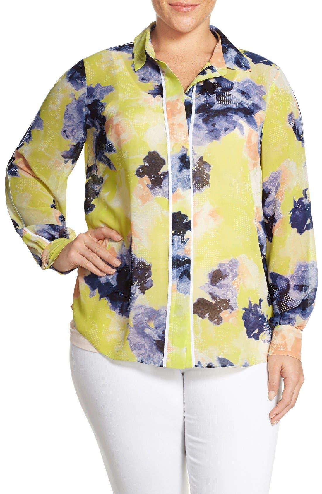 Main Image - Ellen Tracy Piped Floral Print Blouse (Plus Size)