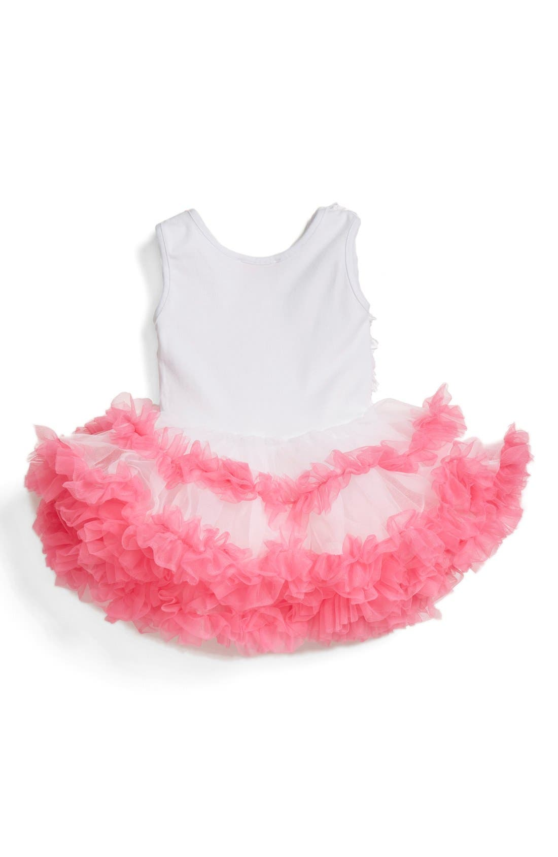 Alternate Image 2  - Popatu Ribbon Rosette Flower Pettidress (Baby Girls)