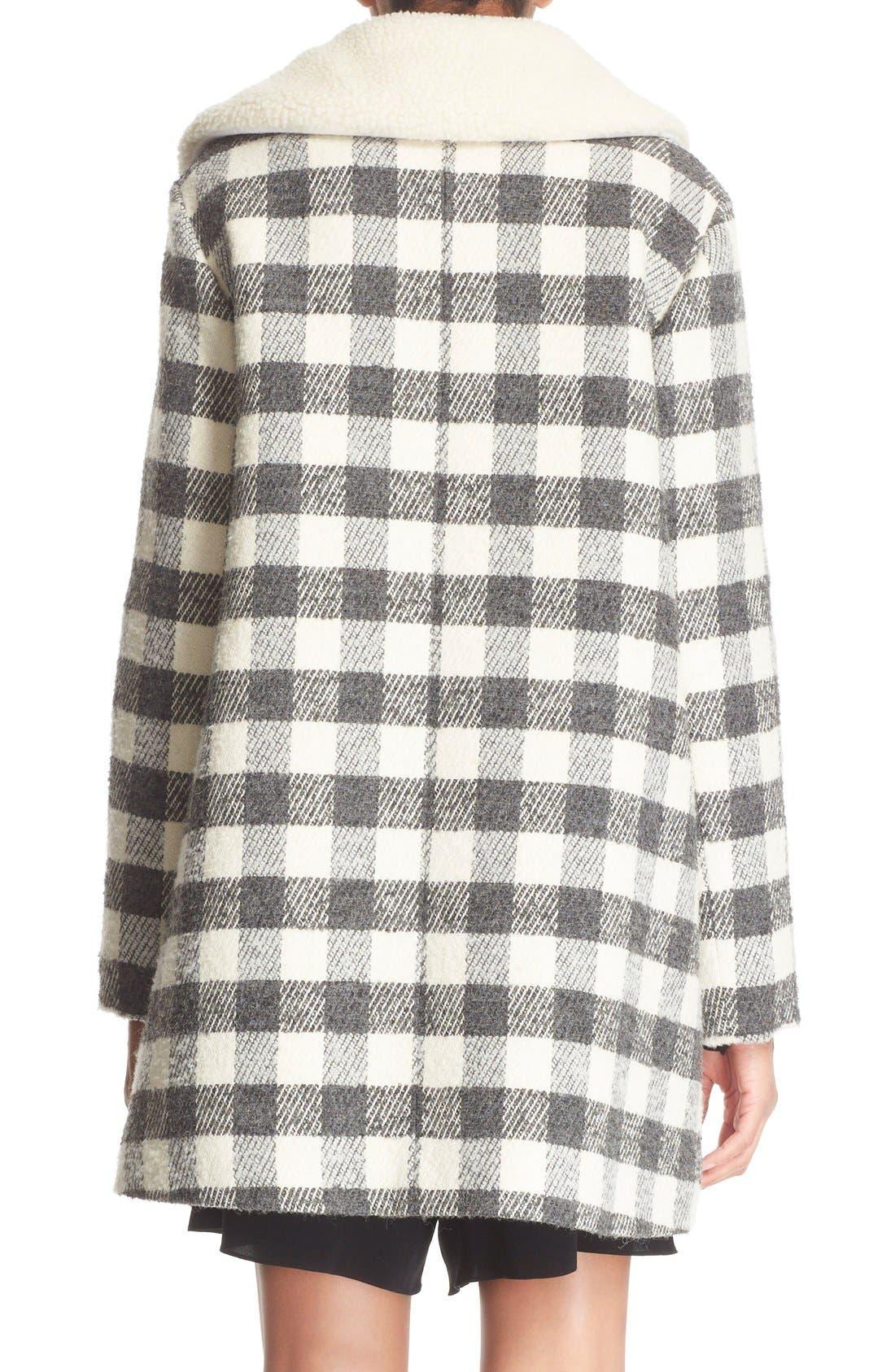 Alternate Image 3  - See by Chloé Faux Shearling Trim Buffalo Plaid Coat