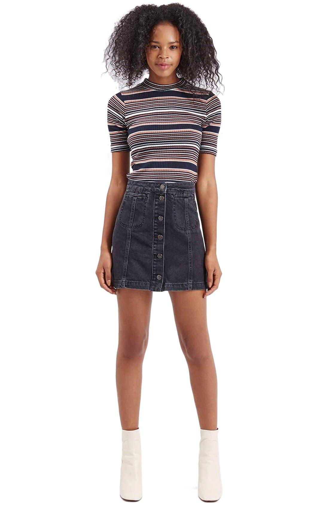 Alternate Image 2  - Topshop Button Front Denim A-Line Skirt