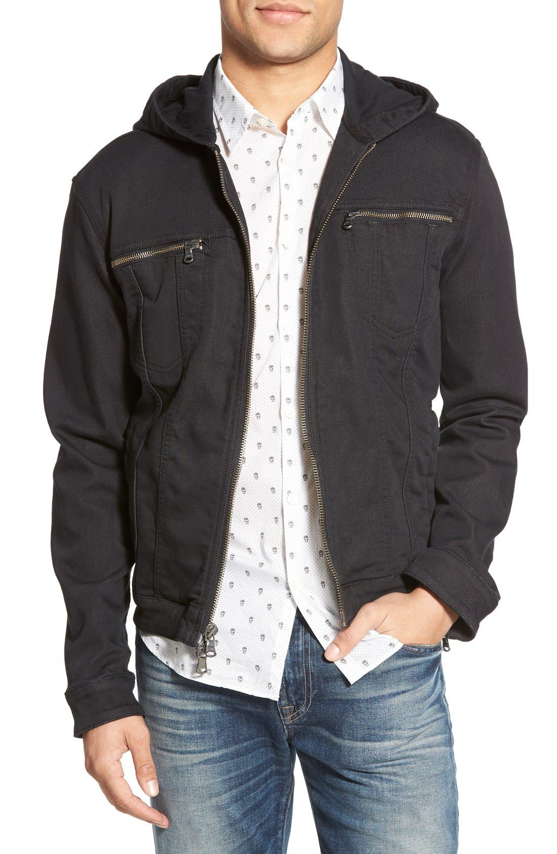Hooded Denim Jacket,                         Main,                         color, Black