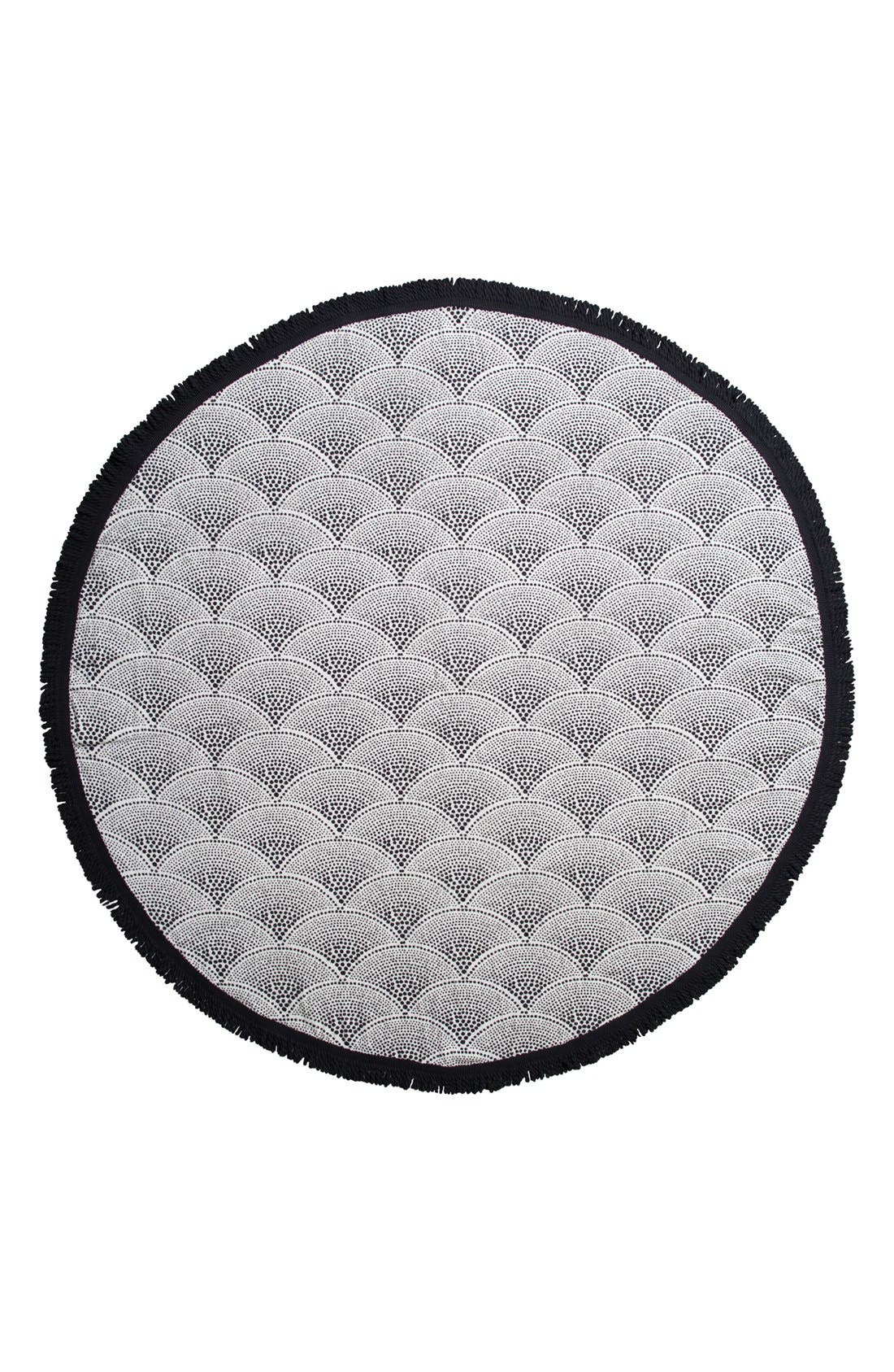 'Amaroo' Round Beach Towel,                         Main,                         color, Black