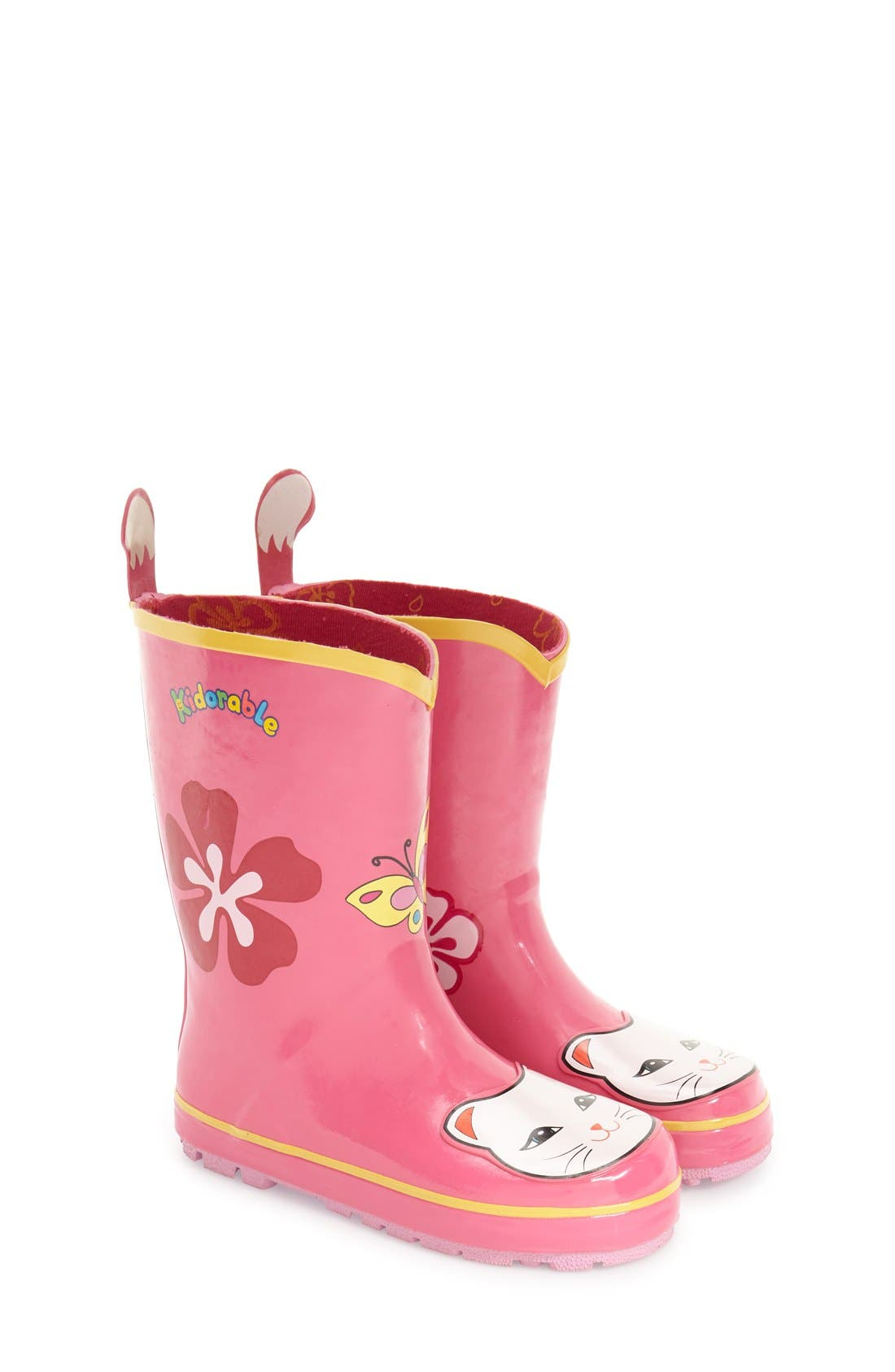 Kidorable 'Cat' Waterproof Rain Boot (Walker, Toddler & Little Kid)