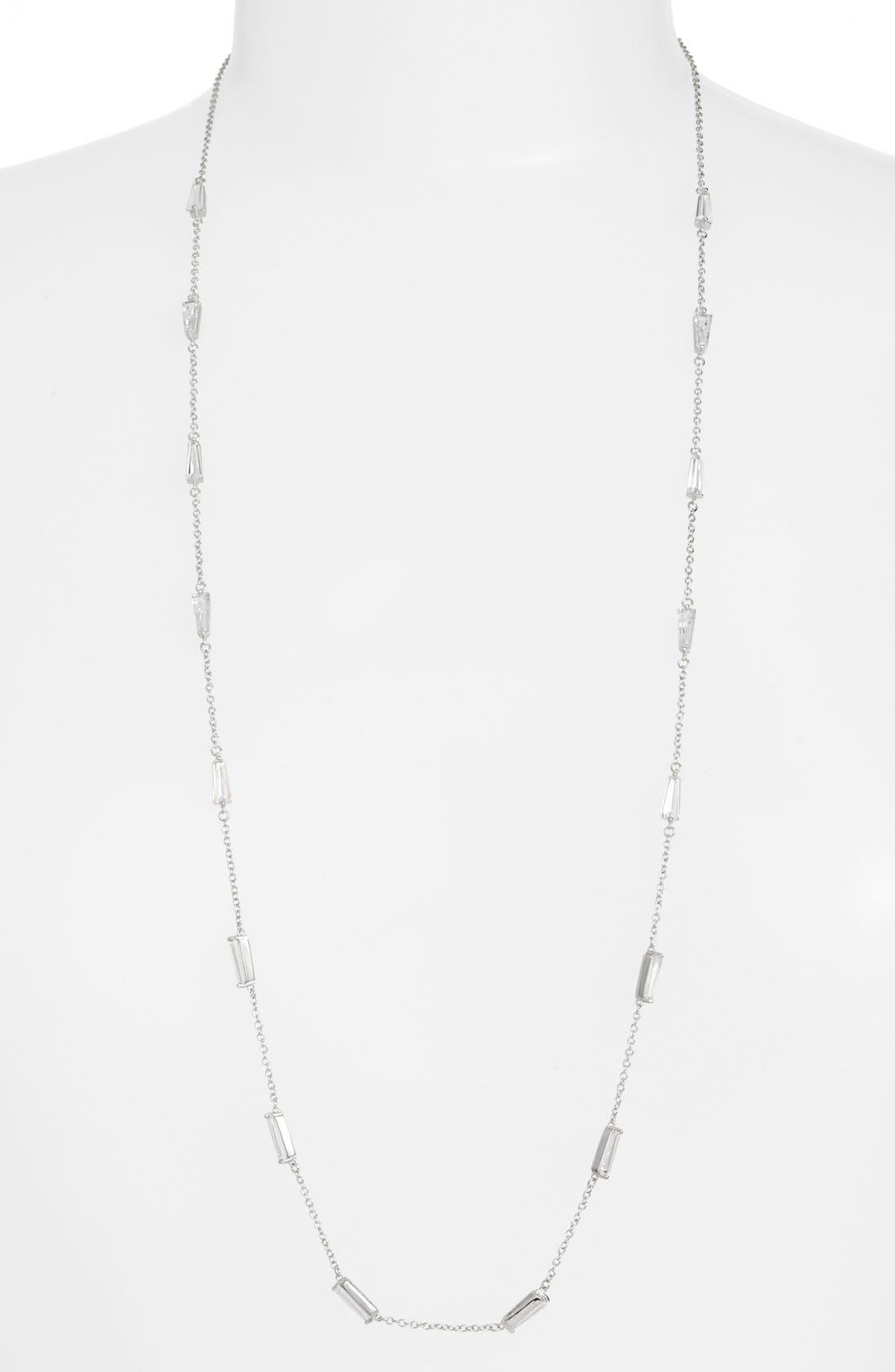 Long Baguette Cubic Zirconia Station Necklace,                         Main,                         color, Silver