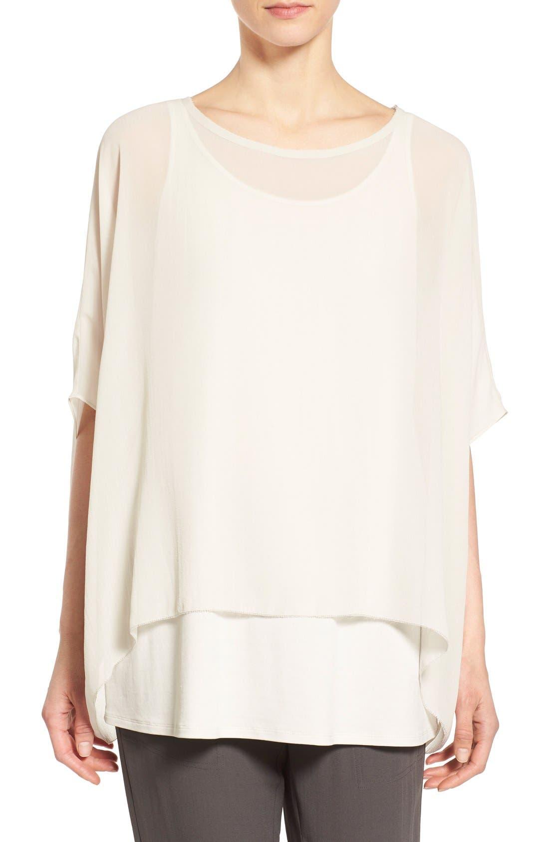 Alternate Image 1 Selected - Eileen Fisher Sheer Silk Georgette Top (Regular & Petite)