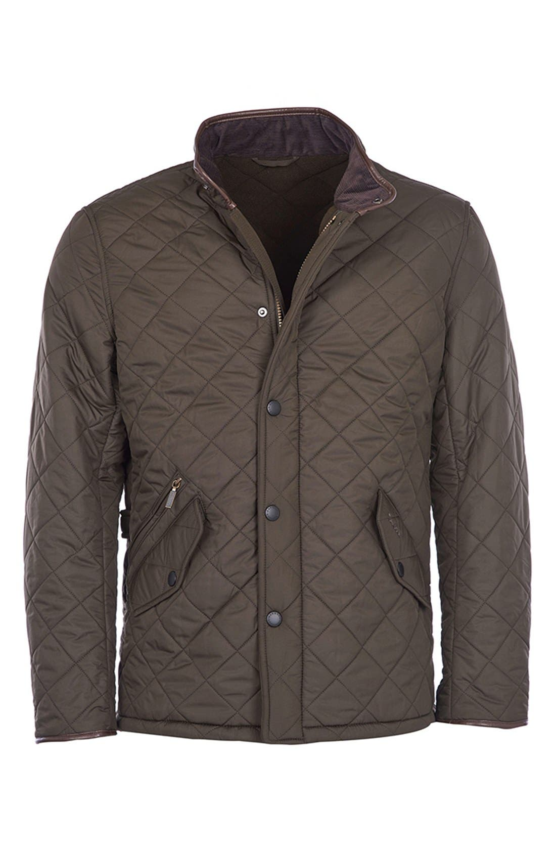 'Powell' Regular Fit Quilted Jacket,                             Alternate thumbnail 5, color,                             Olive