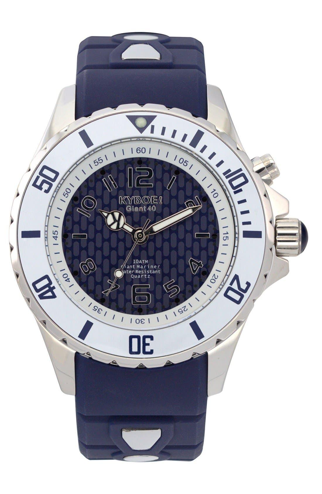 'Marine Voyager' Silicone Strap Watch, 40mm,                         Main,                         color, Dark Blue/ Dark Blue