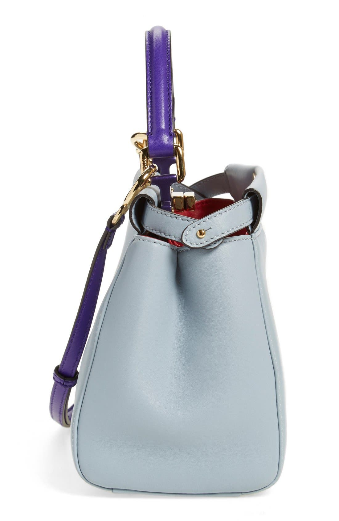 'Mini Peekaboo' Colorblock Leather Bag,                             Alternate thumbnail 4, color,                             Powder/Purple Ruby