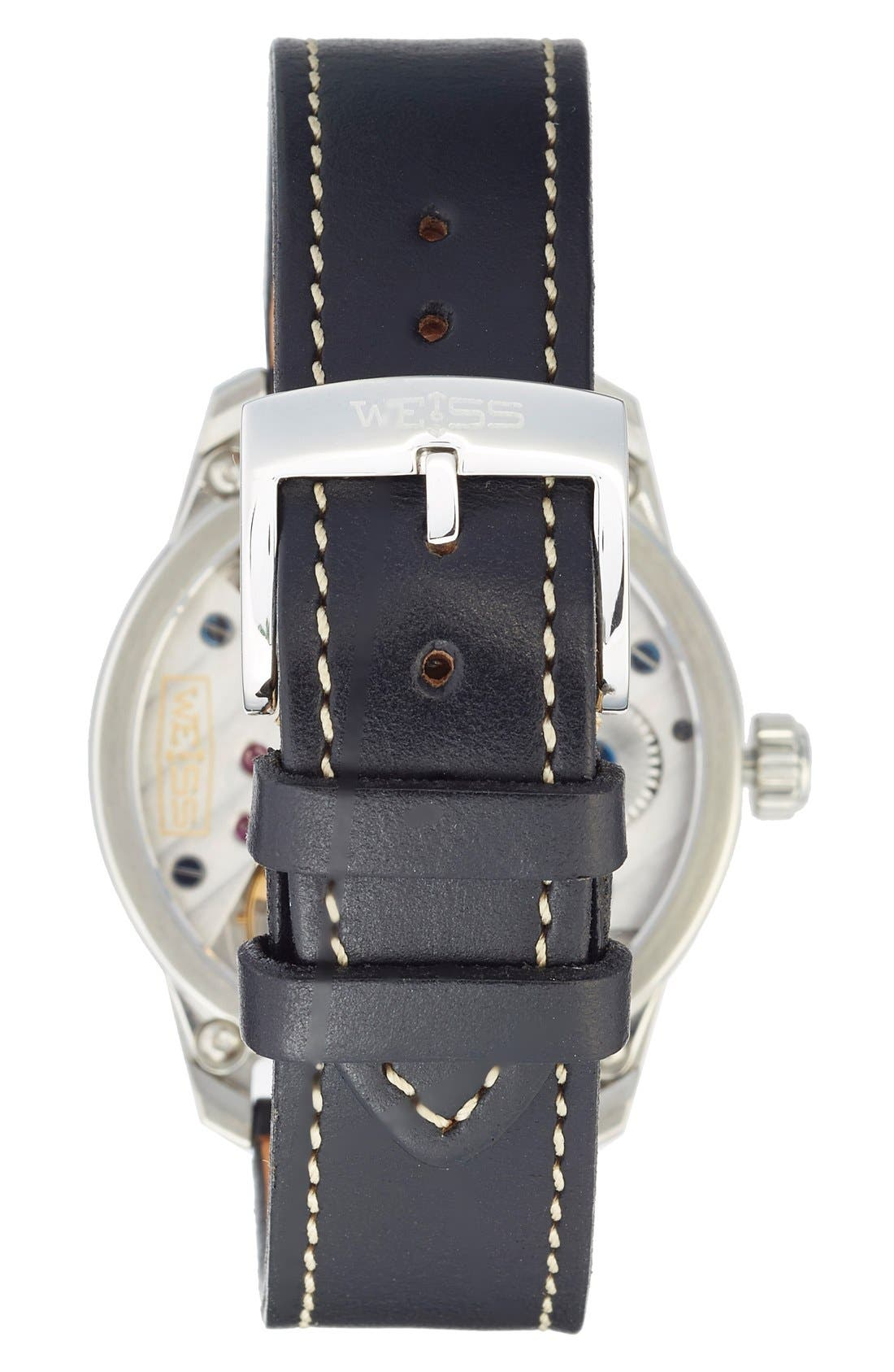 Alternate Image 2  - Weiss Watch Company 'Standard Issue' Leather Strap Watch, 42mm (Nordstrom Exclusive)
