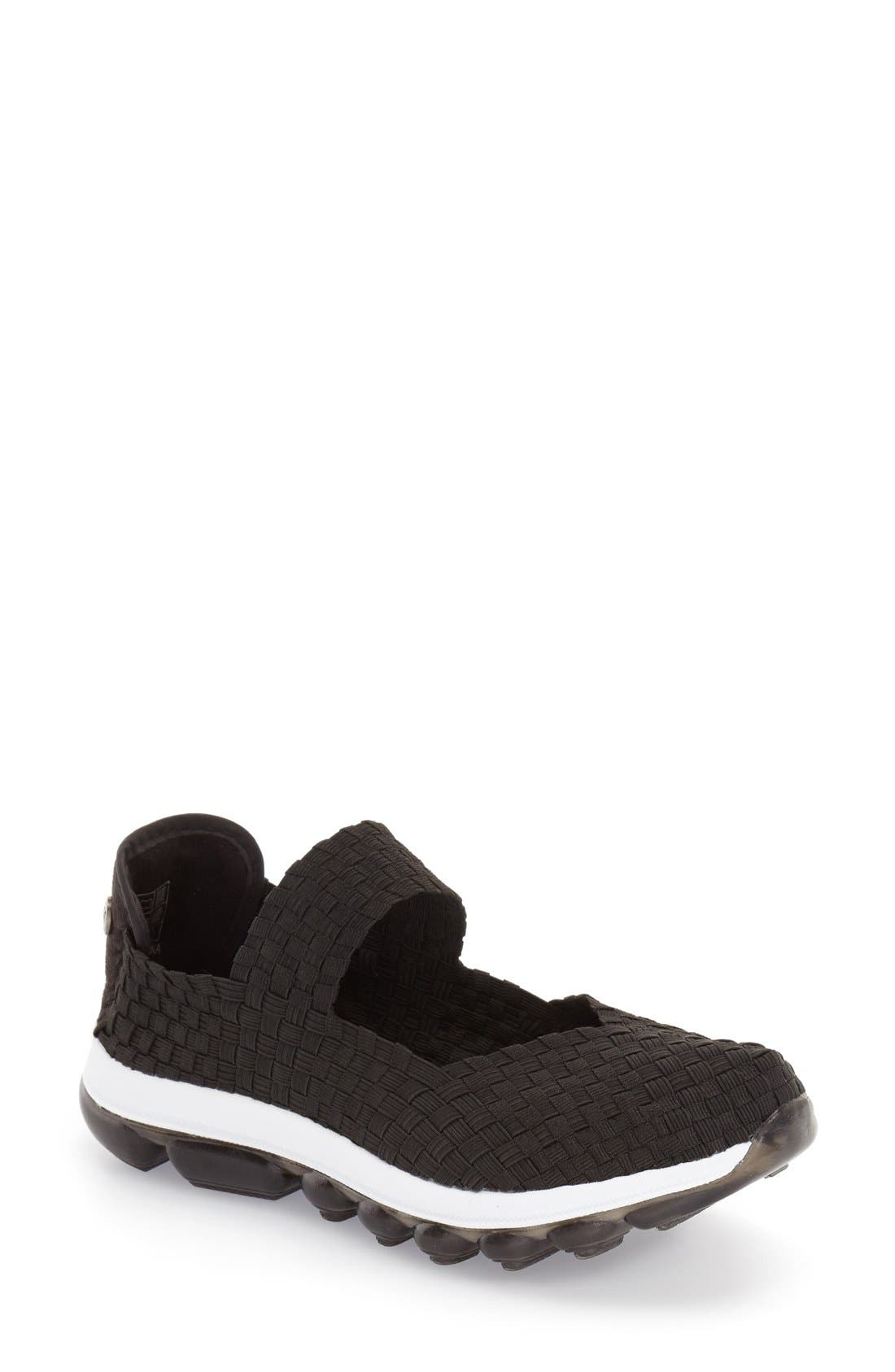 'Gummies Charm' Stretch Woven Slip-On Sneaker,                             Main thumbnail 1, color,                             Black Fabric