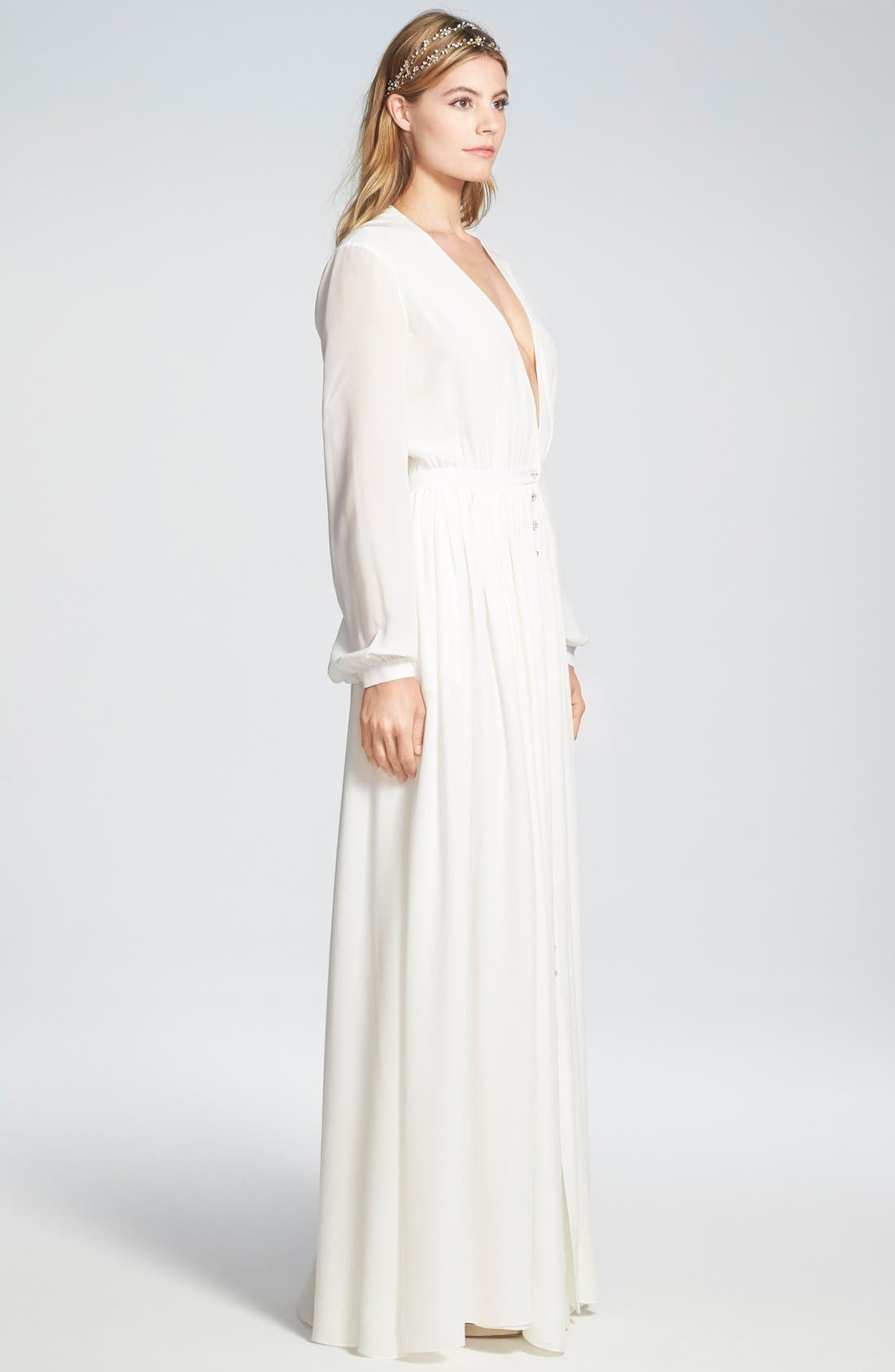 Alternate Image 2  - Houghton 'Galina' Plunging V-Neck Silk Dress with Crystal Buttons