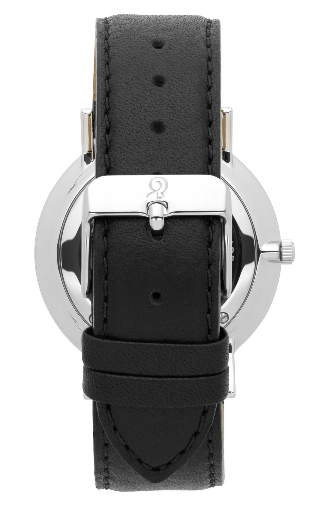 'Lugano' Leather Strap Watch, 40mm,                             Alternate thumbnail 2, color,                             Black/ White