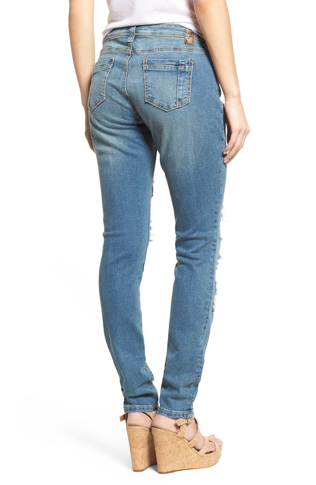 Alternate Image 2  - Poetic Justice 'Maya' Distressed Mid Rise Skinny Jeans (Tough Love)