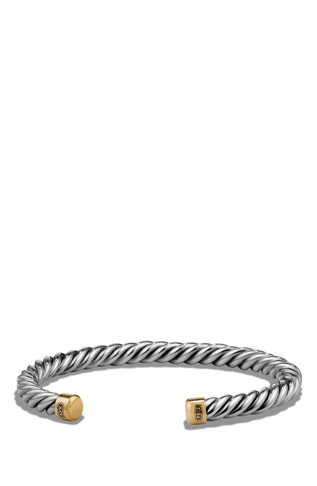 'Cable Classics' Cuff Bracelet with 18K Gold,                             Main thumbnail 1, color,                             Silver/ Gold