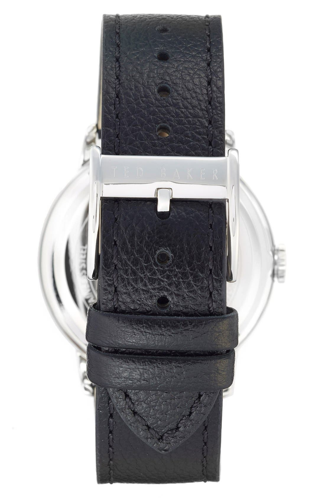 Leather Strap Watch, 42mm,                             Alternate thumbnail 2, color,                             Black