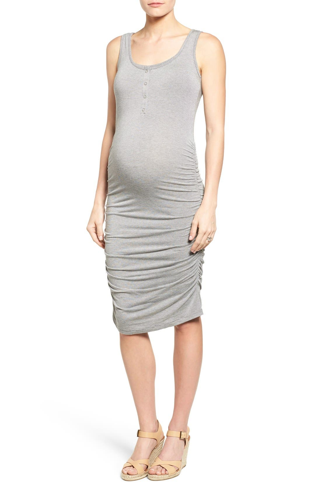 Sleeveless Maternity/Nursing Dress,                         Main,                         color, Charcoal Microstripe