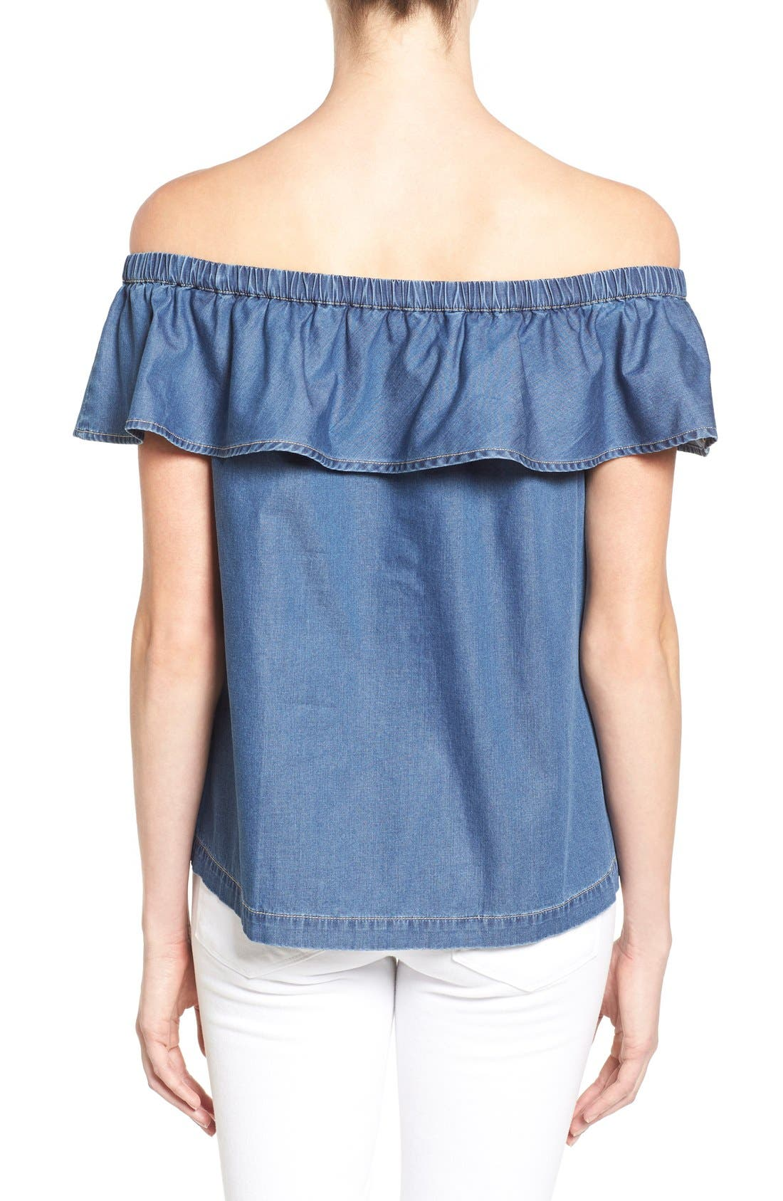 Off the Shoulder Chambray Top,                             Alternate thumbnail 2, color,                             Blue Refined Chambray