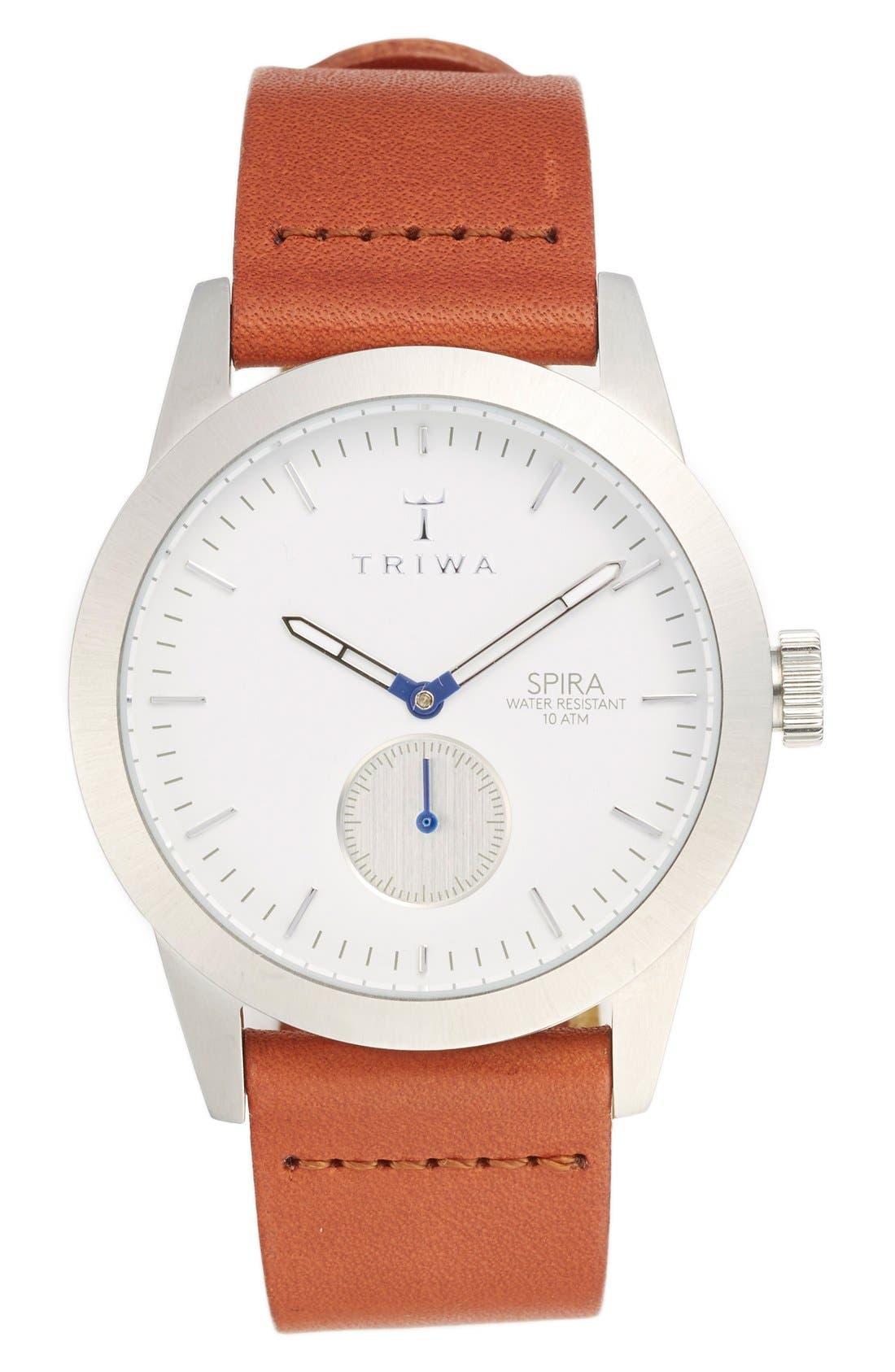 Main Image - TRIWA Spira Leather Strap Watch, 38mm