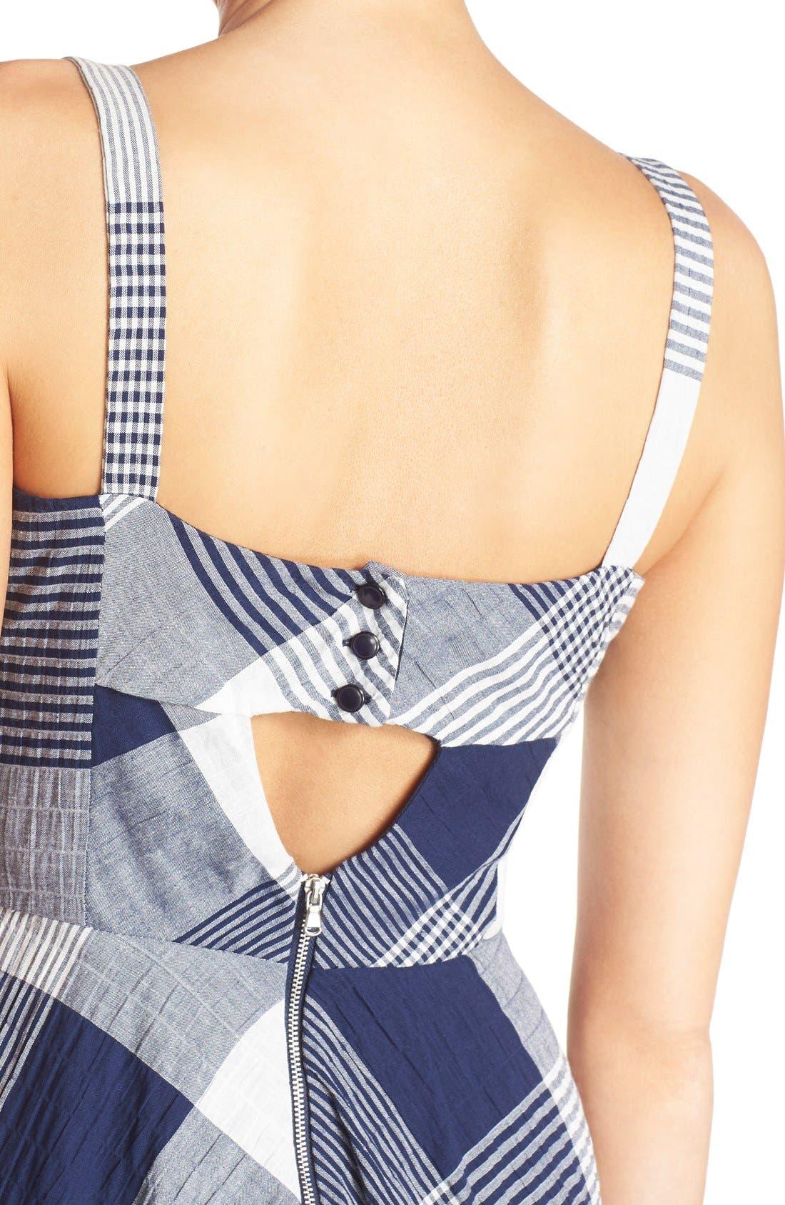 Alternate Image 4  - Taylor Dresses Check Stretch Cotton Fit & Flare Dress