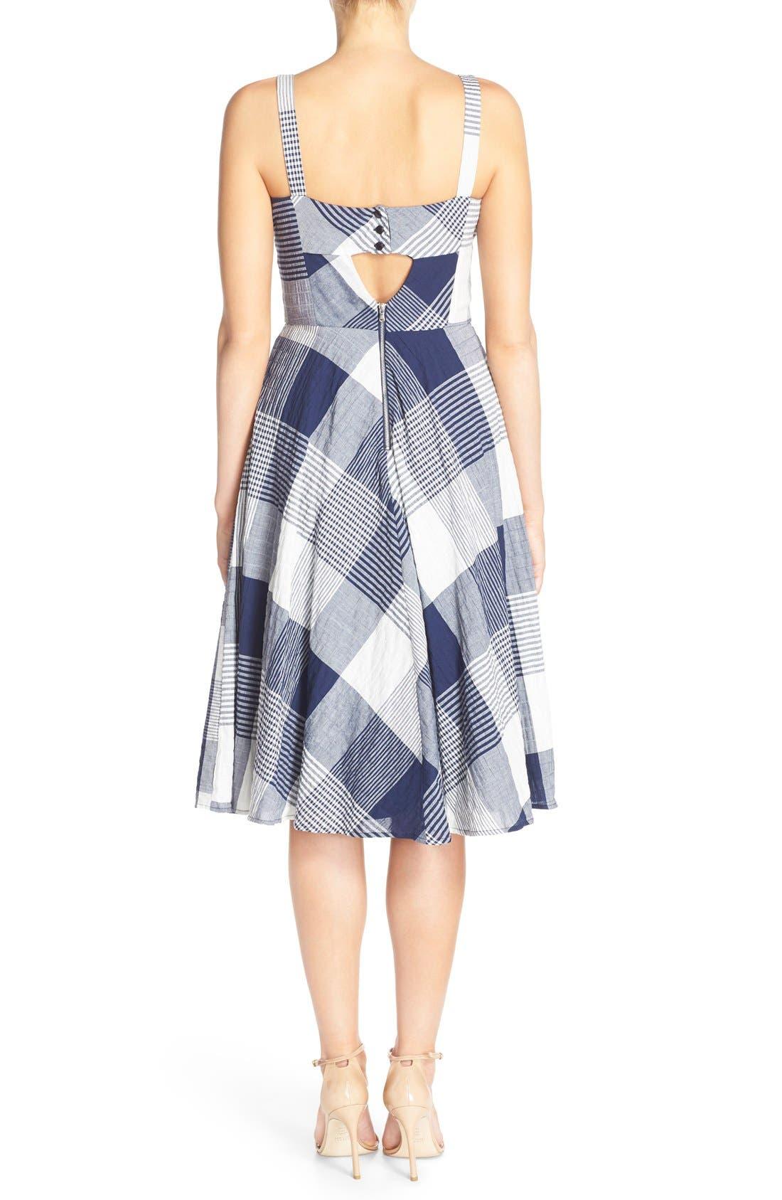 Alternate Image 2  - Taylor Dresses Check Stretch Cotton Fit & Flare Dress