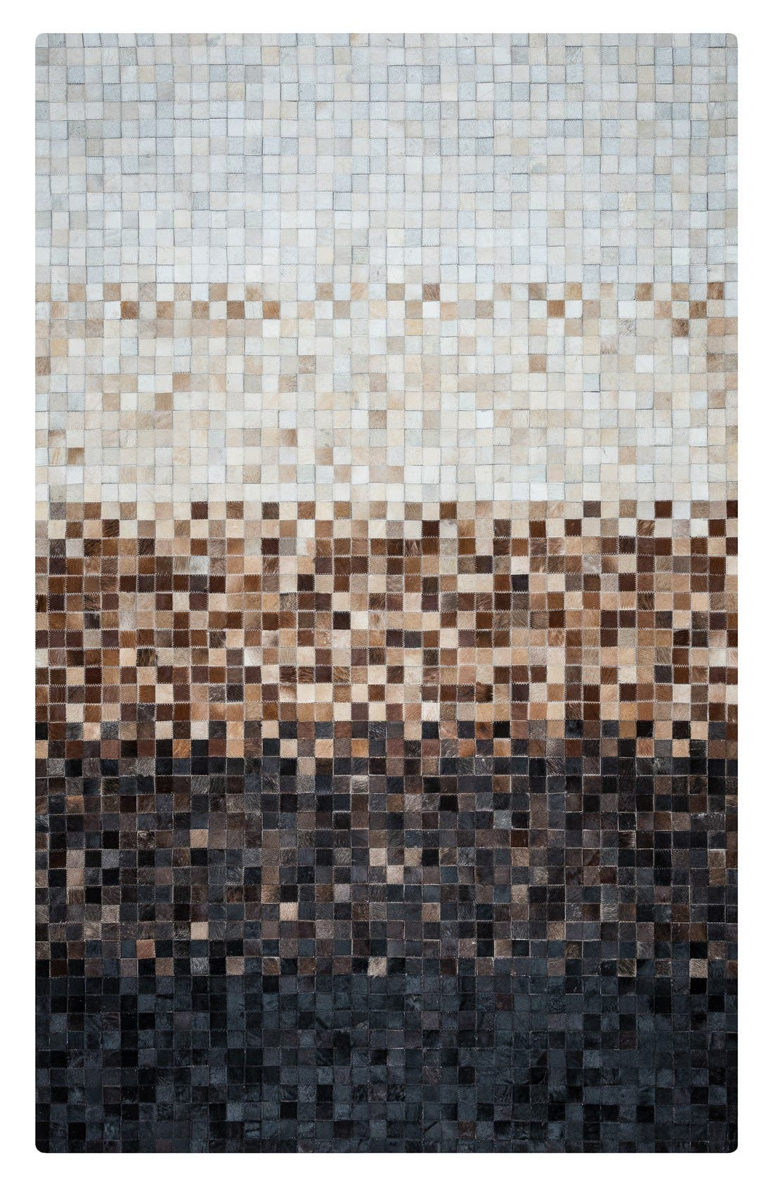 'Cumberland Pixel' Hand Sewn Leather Area Rug,                         Main,                         color, Brown/ Multi