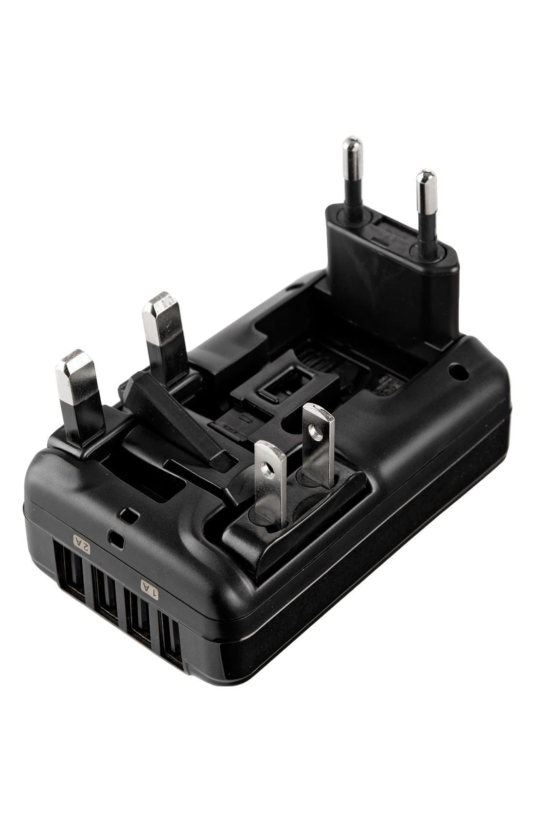 4 Port USB Travel Adaptor,                             Alternate thumbnail 3, color,                             Black