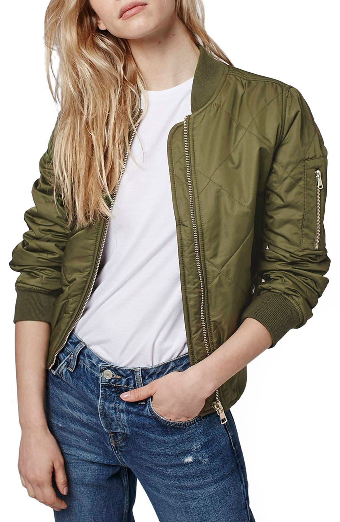 Main Image - Topshop 'MA1 Bruce' Quilted Bomber Jacket