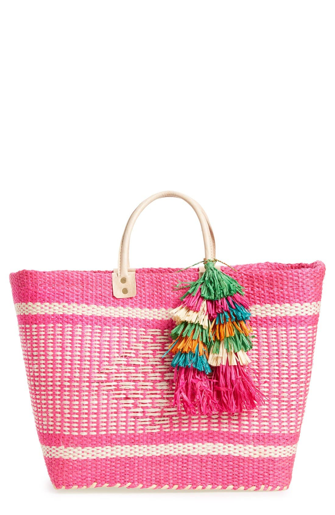 'Ibiza' Woven Tote with Tassel Charms,                         Main,                         color, Pink