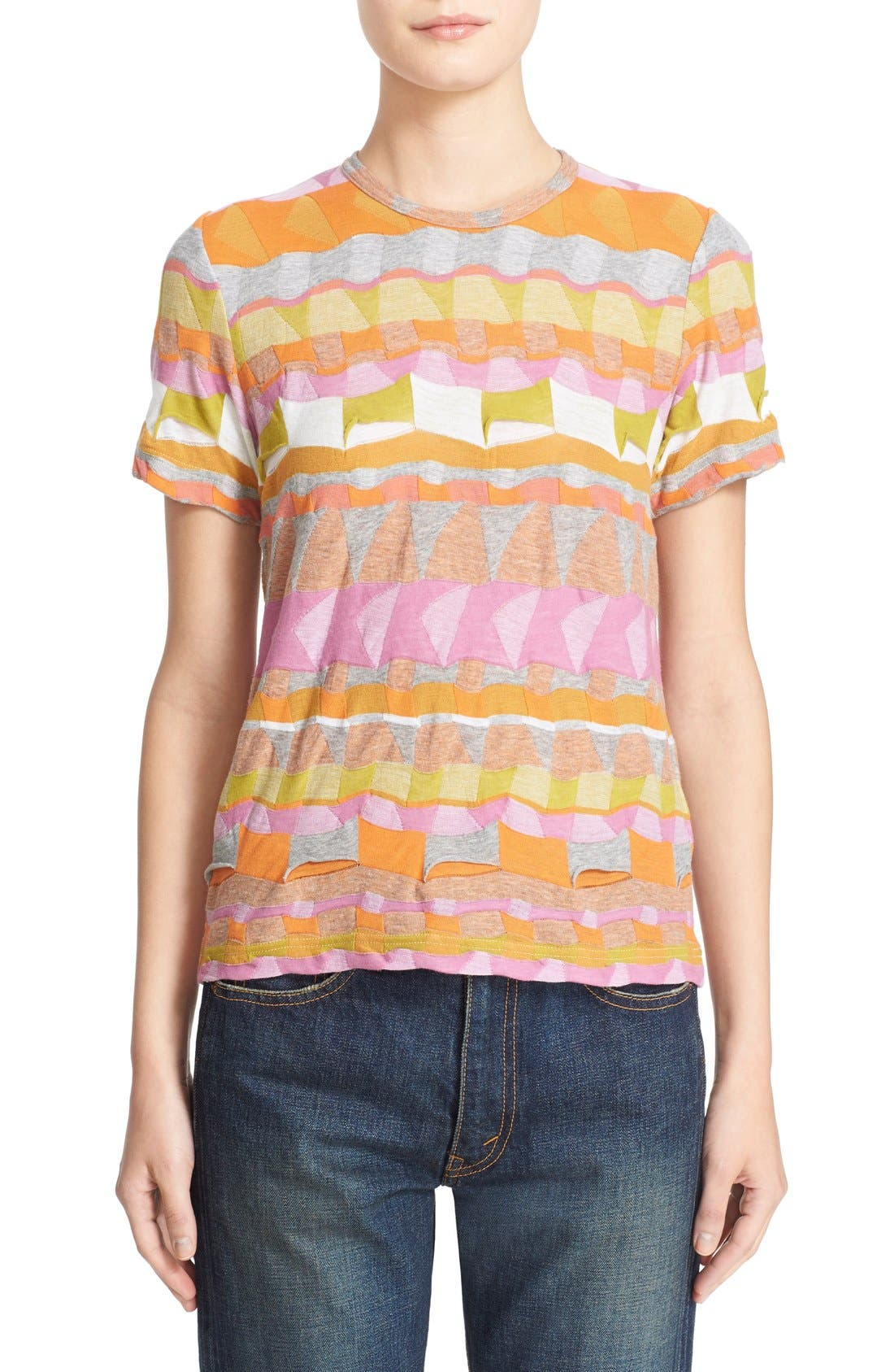Multi Border Jacquard Top,                         Main,                         color, Pink/ Orange