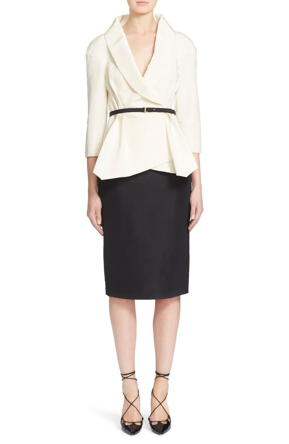 Belted Silk Wrap Blouse,                             Main thumbnail 1, color,                             White