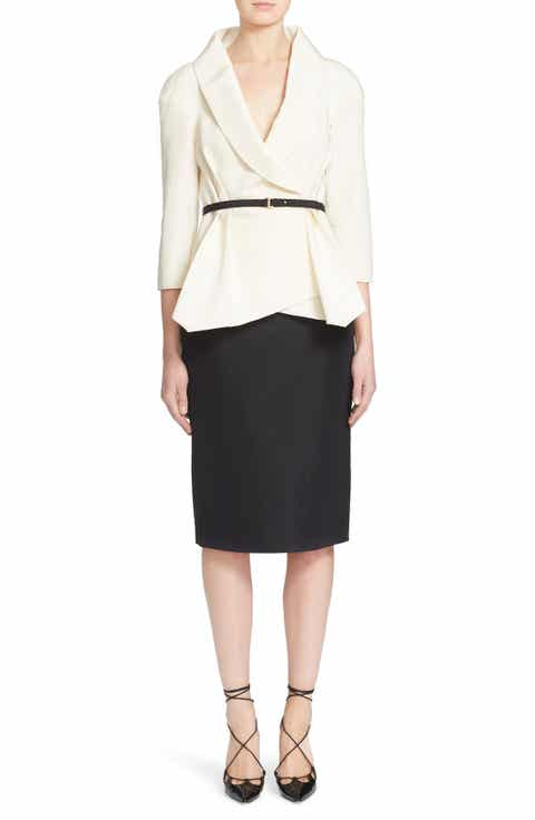Carolina Herrera Belted Silk Wrap Blouse