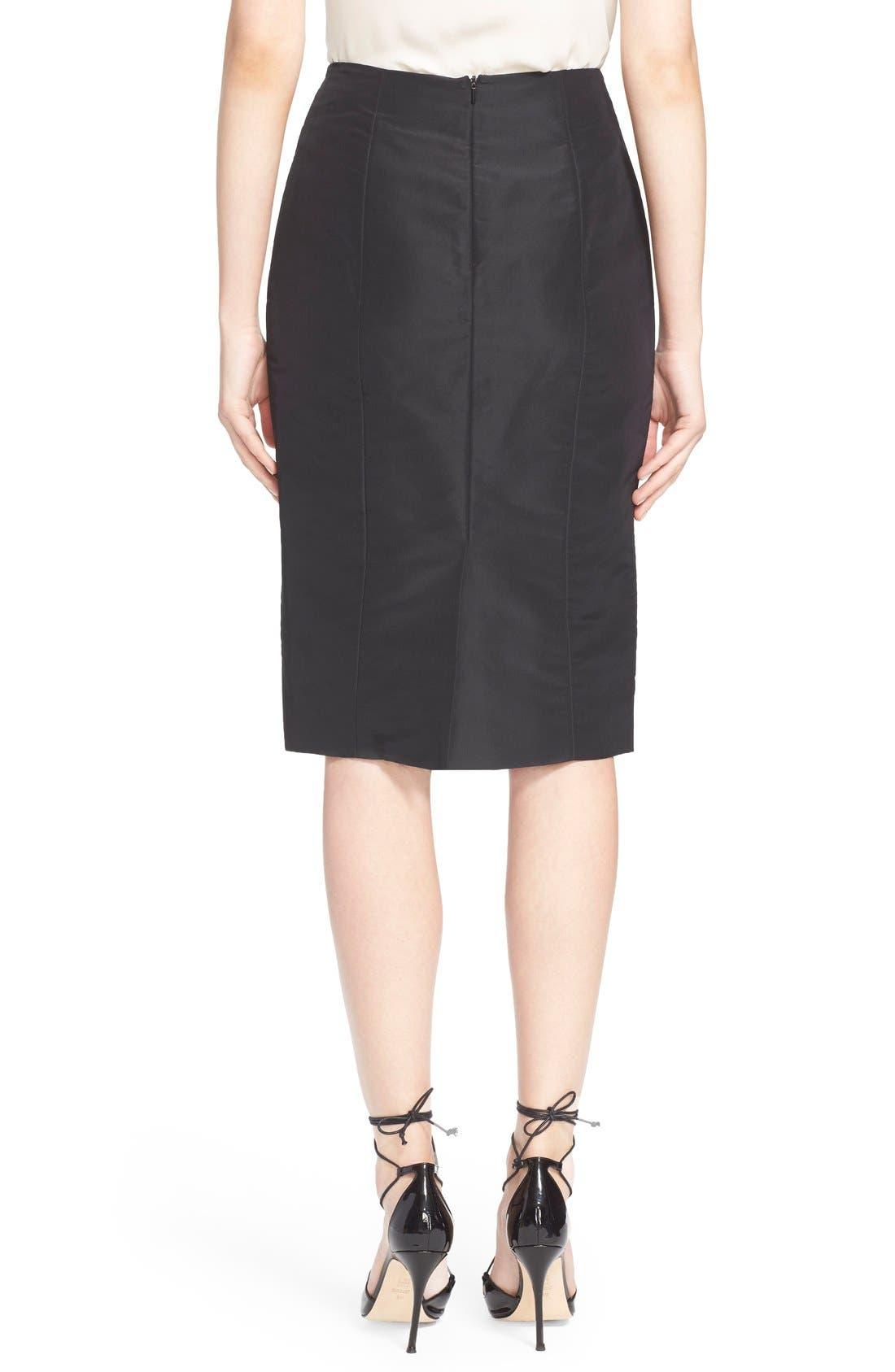Silk Pencil Skirt,                             Alternate thumbnail 2, color,                             Black